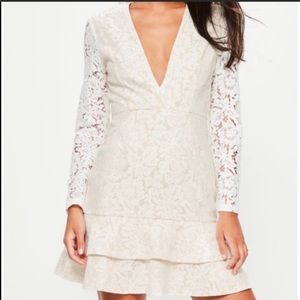 Missguided white lace deep v ruffle hem dress